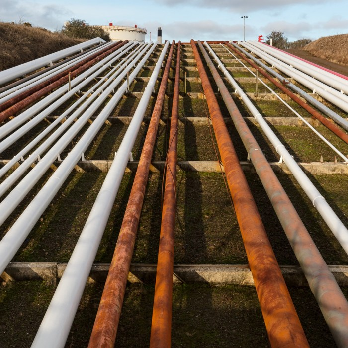 Pipelines, Dragon LNG Terminal, Milford Haven, Pembrokeshire.