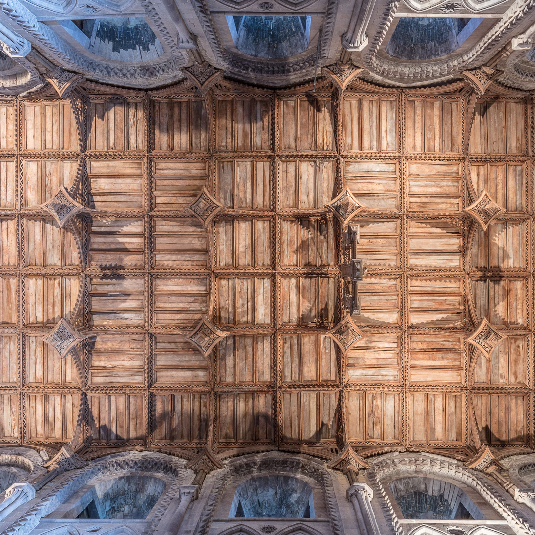 Oak ceiling above the nave, St David's Cathedral, Pembrokeshire.