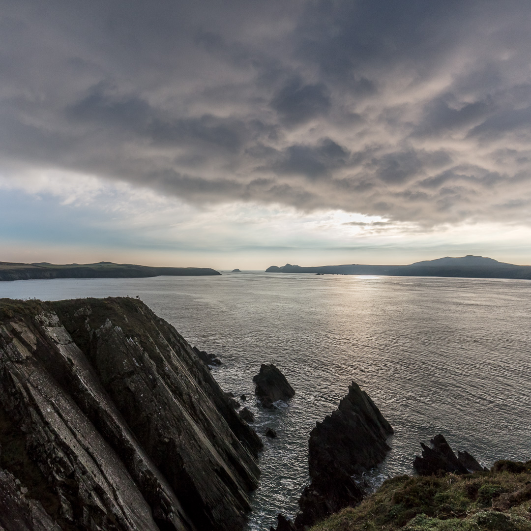 Pen Dal-aderyn (western most point of mainland Wales) & Ramsey Island from St Justinian, Pembrokeshire.