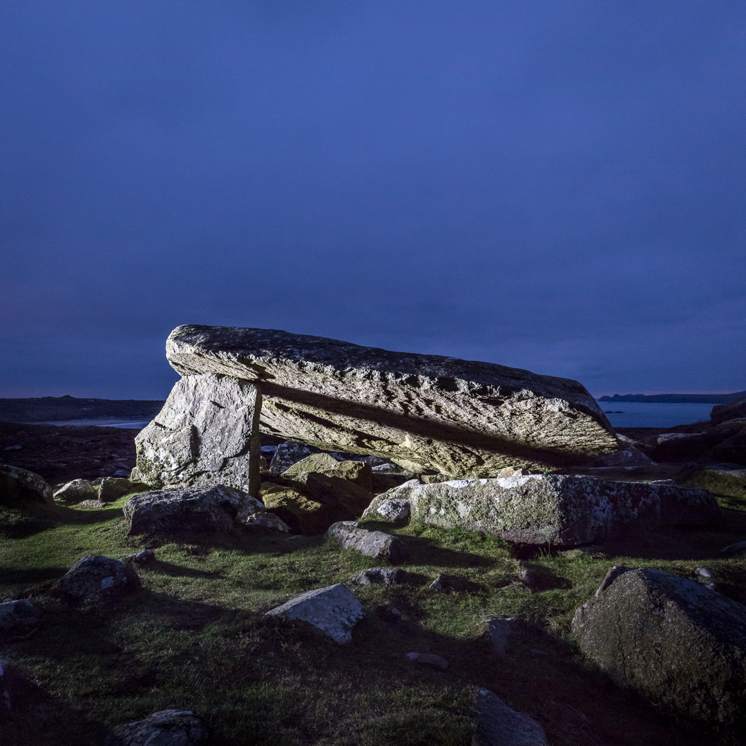 Coetan Arthur, a Neolithic burial chamber believed to date from around 4,000 B.C, Porth Mawr, Pembrokeshire.