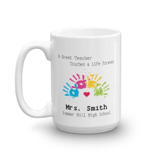 personalized teacher mug with name, text, and hands illustration