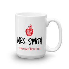 personalized teacher mug with a name, text, and apple illustration