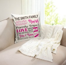 example image of the personalized family memories throw pillow