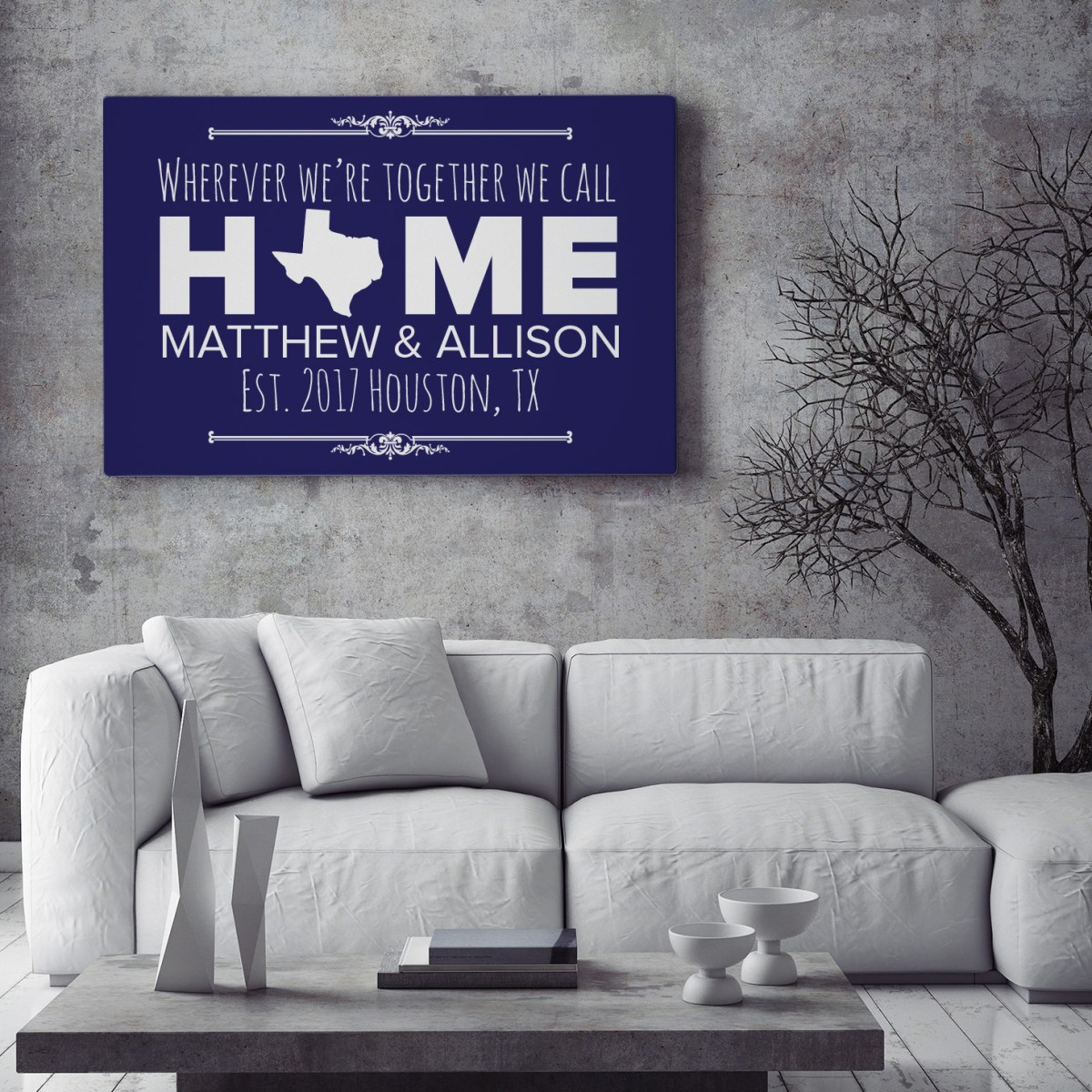 personalized canvas with home state and text