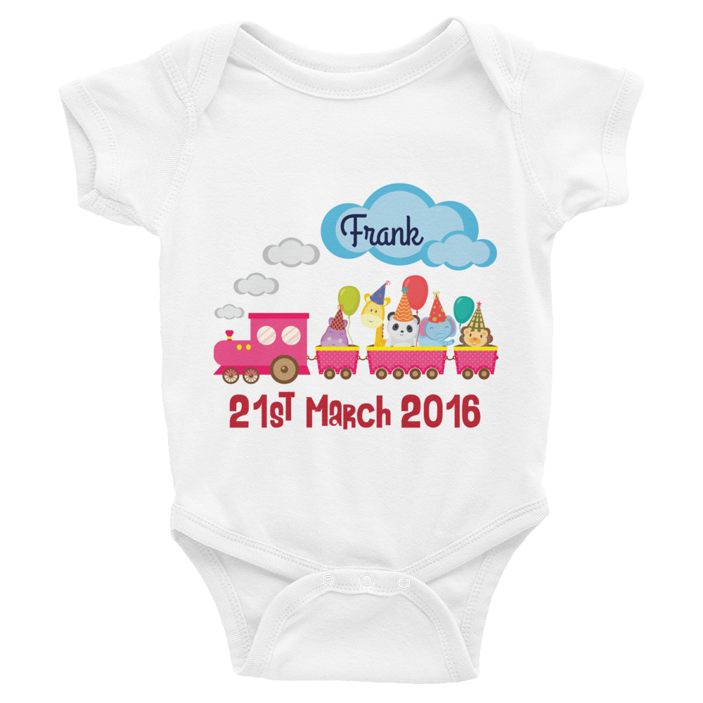 personalized baby onesie with name and birthday