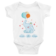 personalized baby suit with elephant, baby's birthday, and baby's name