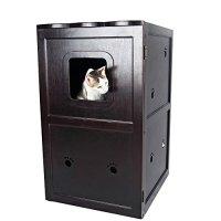 Petsfit 21x25x35 Inches Espresso Double-Decker Pet House ...