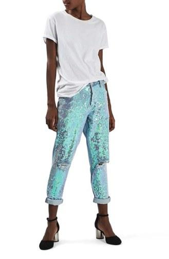 Topshop Sequin Destroyed Boyfriend Jeans
