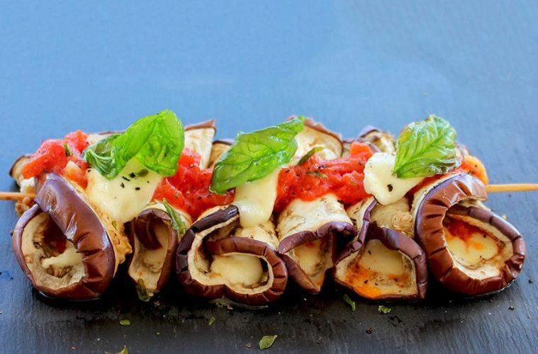 Eggplant Parmigiana Skewers, vegetarian recipe by The Petite Cook