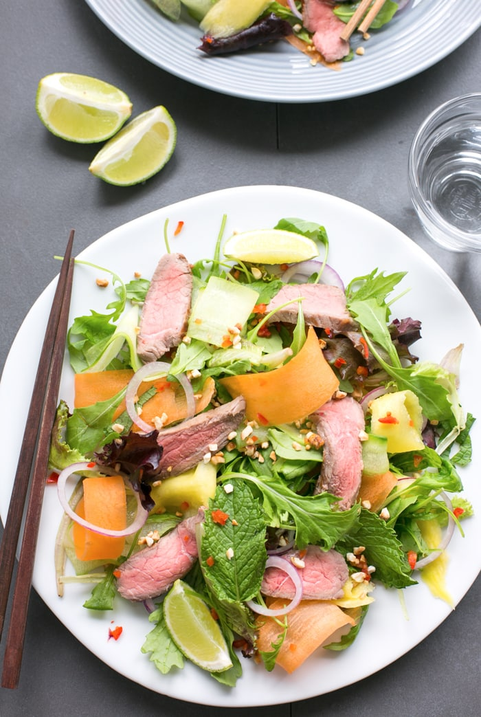 Bursting with flavors, this gluten-free Asian Beef Salad is ready in just 15 min and loaded with protein-rich beef, healthy veggies and fresh herbs - The perfect balanced meal to enjoy on a busy day!