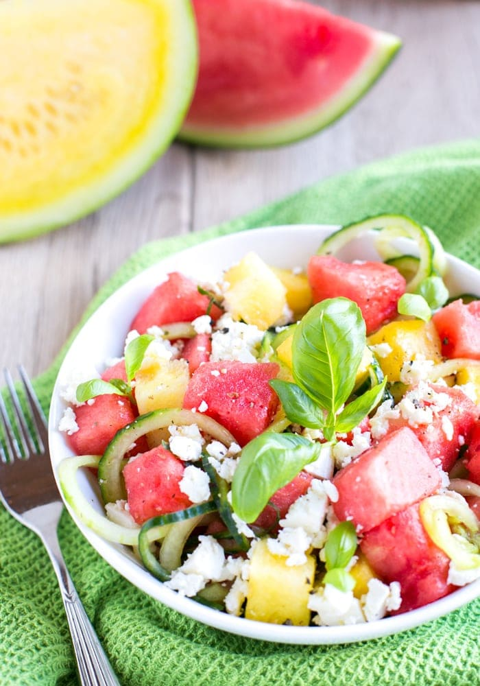This super easy, fresh and juicy Watermelon Feta Salad is vegetarian and gluten-free - A great quick side to enjoy all summer long! Recipe by The Petite Cook