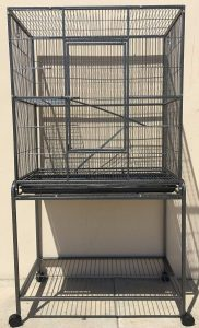 Large Wrought Iron 4-Level Chinchilla Cage with Removable Stand