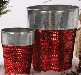 Red Sequin Galvanized Pot PHAG