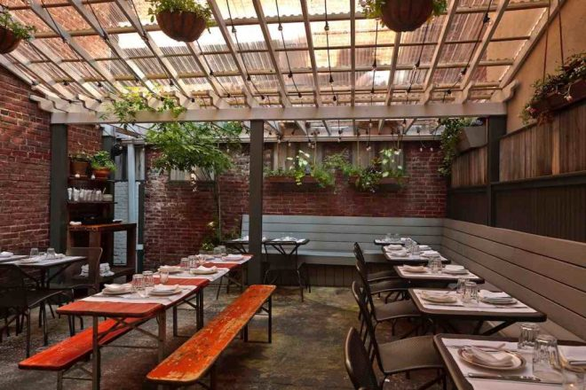 The outdoor seating area at Little Nonna's in Philadelphia