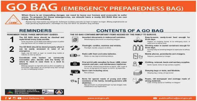 emergency preparedness bag