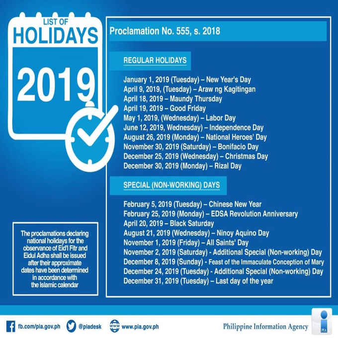 Philippine Holidays 2019   Proclamation No.555 s. 2018 - The Philippines Today
