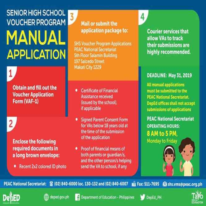 senior high school voucher program manual application