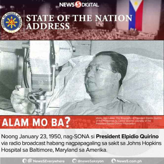 president who delivered sona while sick