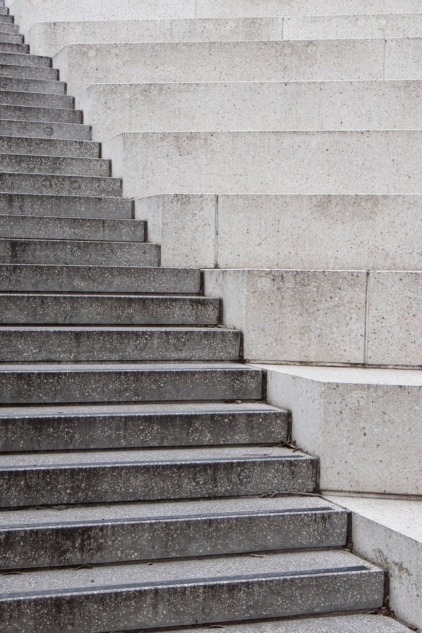 gray and white concrete staircase