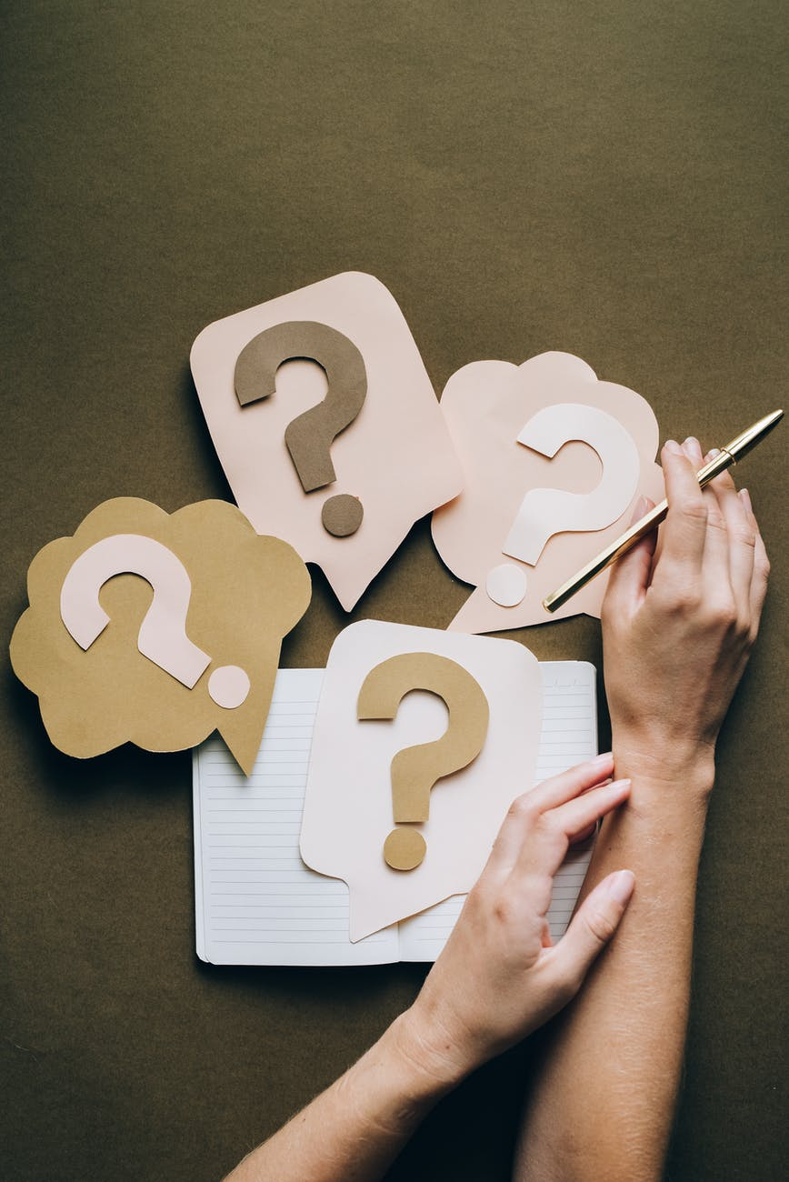 person with difficulty and questions in studies