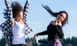 choosing joy jumping women