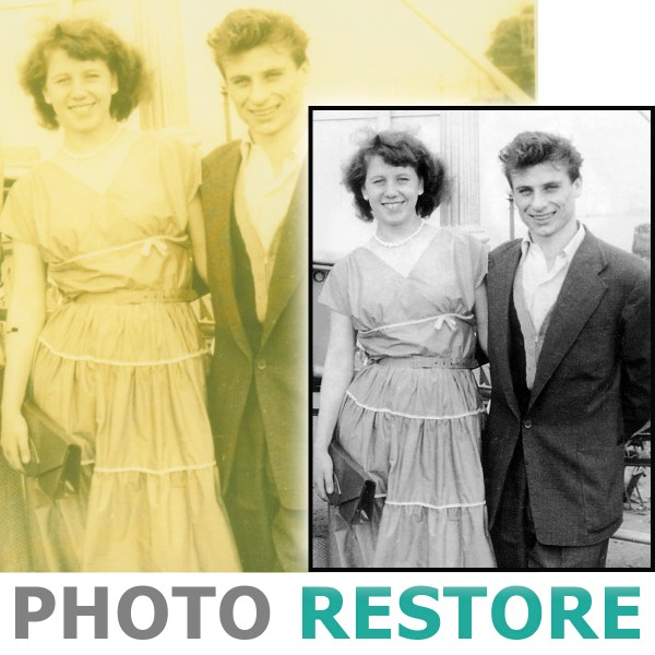 Before and after black and white photo restoration of a couple