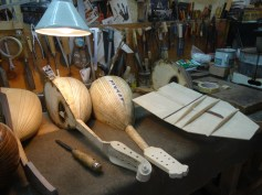 Mandolins in the making in 'La Bottega del Mandolino' in Naples, Italy