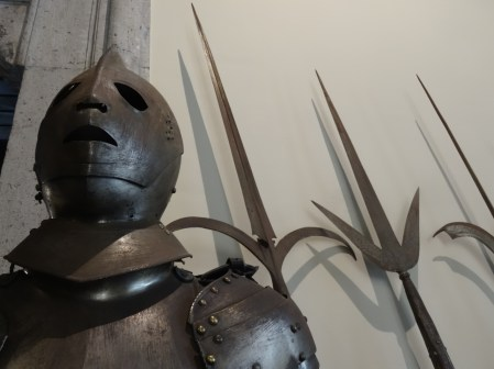 Displays of armour and weapons in the Museo Filangieri in Naples, Italy