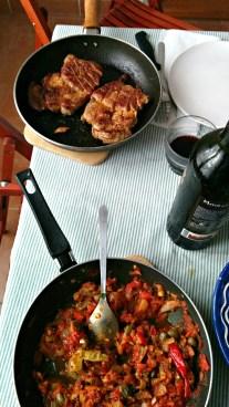 Pork with mediteranean sauce