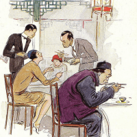 Le restaurant Chinois, by Sem (1863-1934)