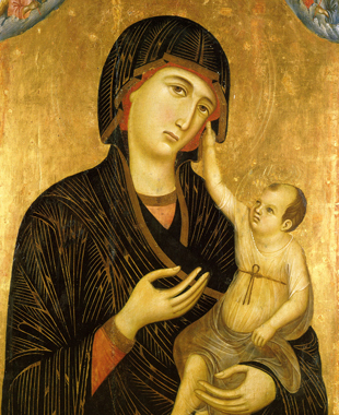 Madonna and Child by Duccio, tempera and gold on wood.
