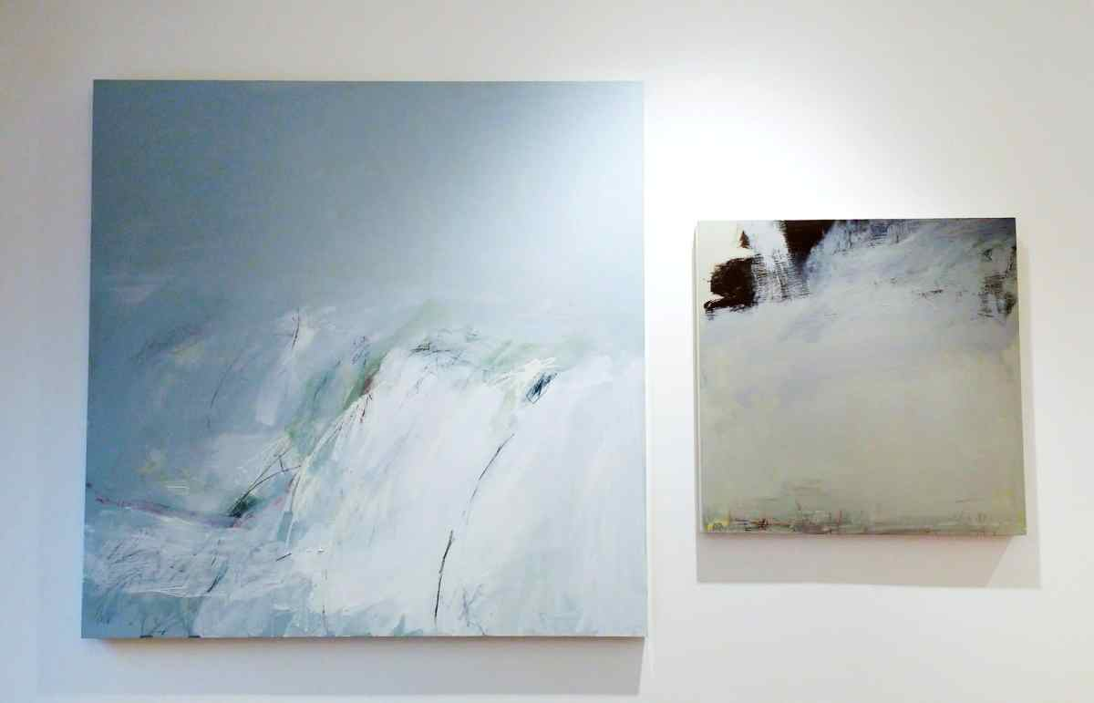 Two square abstract paintings on aluminium panels, hung in an entrance hallway in Kemp Town, Brighton