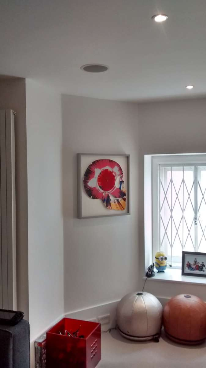 A Box framed bright skull collage. Installed in an asymmetrical living room. Fitting well on the narrow wall between window and door.