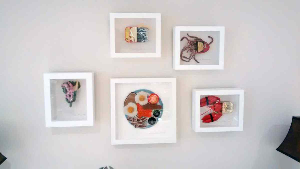 Feast your eyes on this! An Asymmetric, collage style hang worked best to show off Artist Kate Jenkins's crocheted food. Framed in deep box frames.