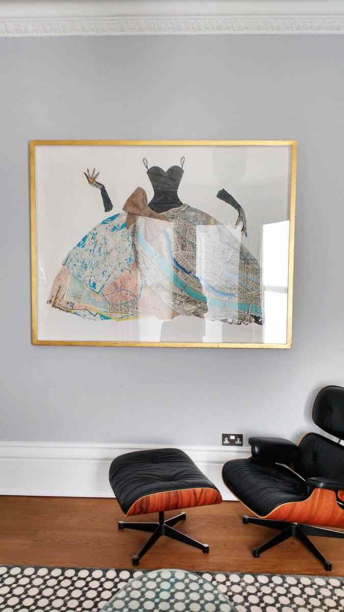 Paper ballgown by collage artist Peter Clarke, installed in a living room in Brighton.