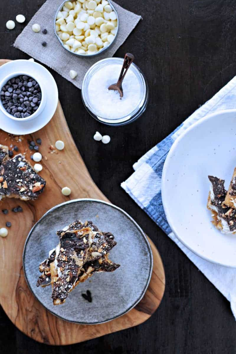 Salted Double Chocolate Cracker Crack (Saltine Toffee) with Roasted Almonds | via thepigandquill.com #recipe #sweets #candy #chocolate