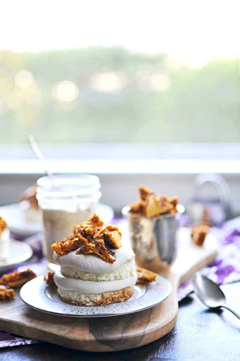 Mini Coffee Crunch Cakes recipe (via thepigandquill.com) Chiffon cake layered with coffee coconut cream coffee crunch honeycomb | #cake #coffee #recipe #desserts #dairyfree