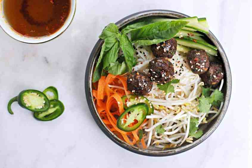 Vietnamese Meatball Bún with Honey-Aleppo Nuoc Cham recipe (via thepigandquill.com) #dairyfree #glutenfree #dinner