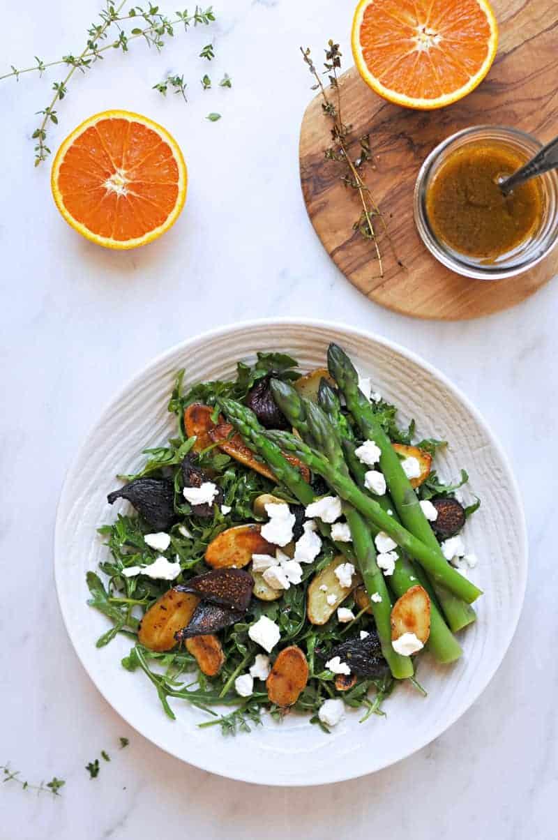 Roasted Fig + Potato Salad with Asparagus, Goat cheese + Honey-Orange Balsamic Vinaigrette recipe (via thepigandquill.com) #vegetarian #spring #lunch #dinner