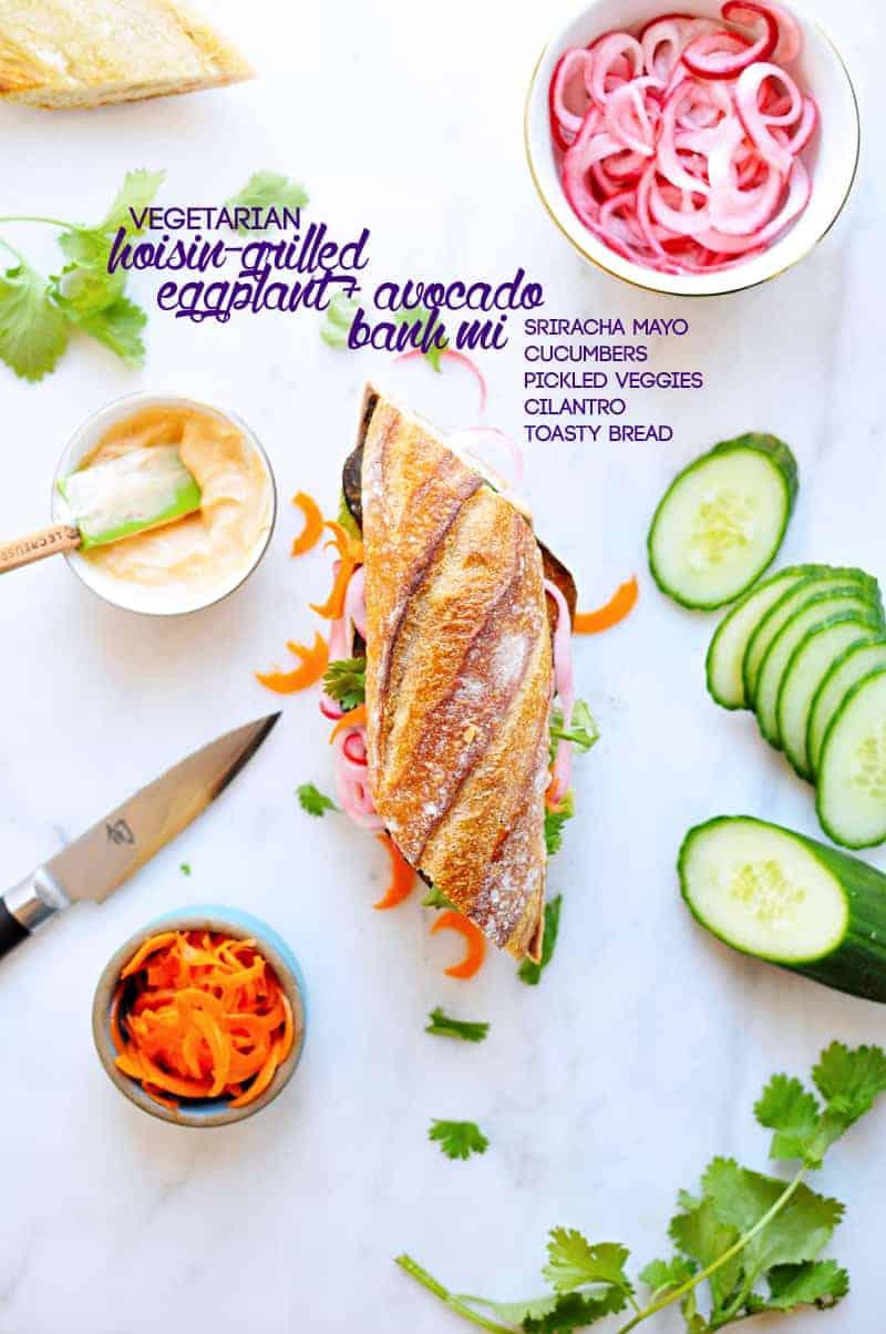 Hoisin-Grilled Eggplant + Avocado Bánh Mì (via thepigandquill.com) #vegetarian