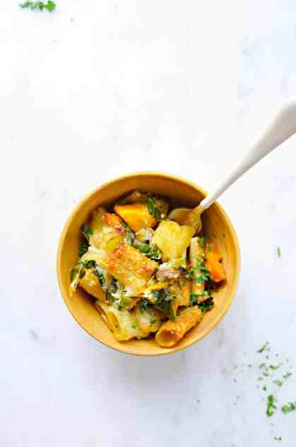 Three Cheese Butternut Pasta Bake with Mushrooms + Chard Recipe (via thepigandquill.com) #vegetarian #burrata #casserole