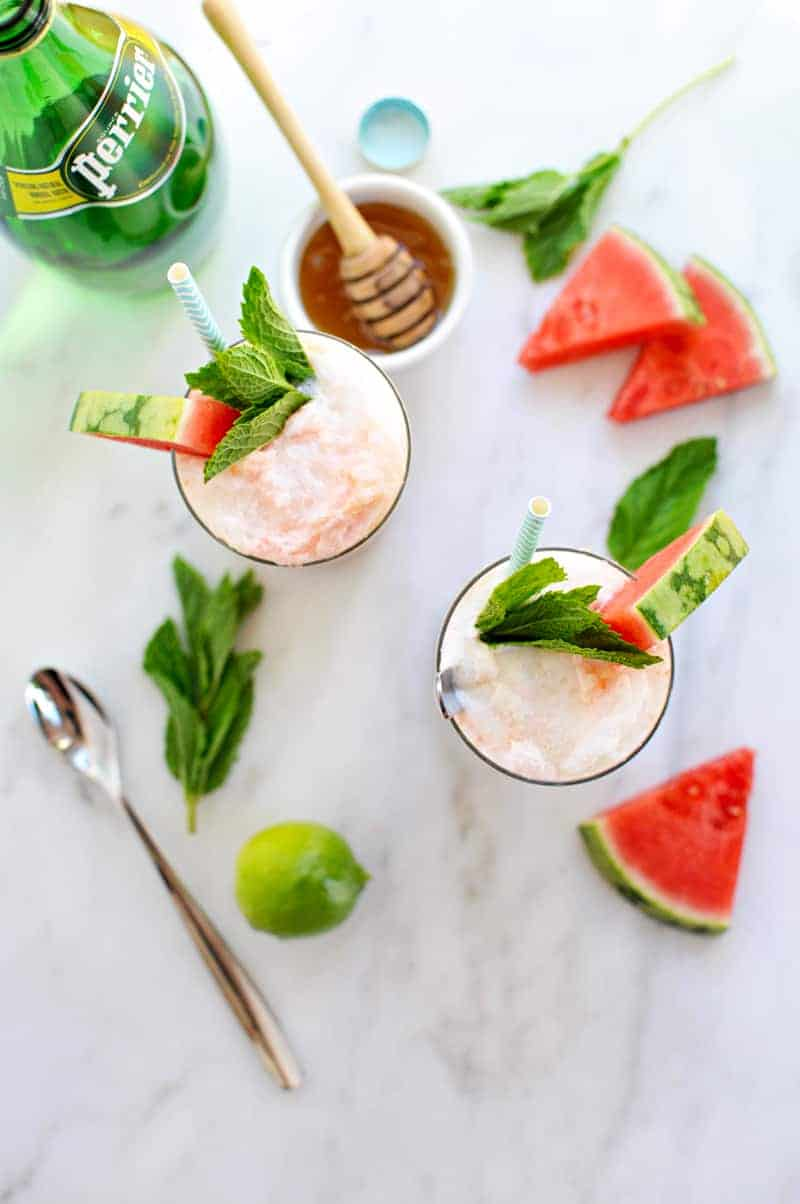 Honey-Lime Watermelon Floats recipe (via the pigandquill.com) #icecream #dessert #summer
