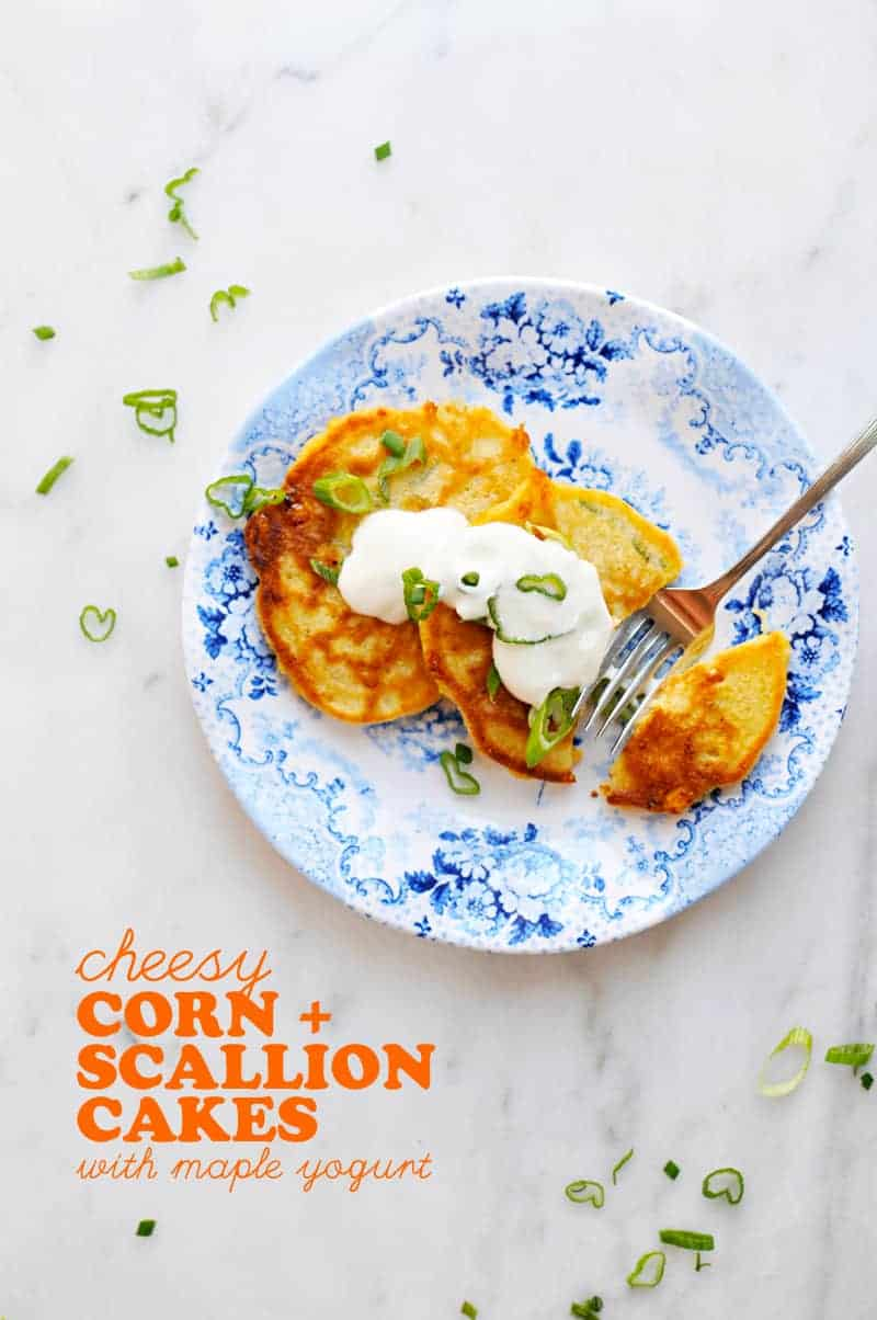 Cheesy Corn + Scallion Cakes with Maple Yogurt recipe (via thepigandquill.com) #breakfast #brunch #toddlerfood