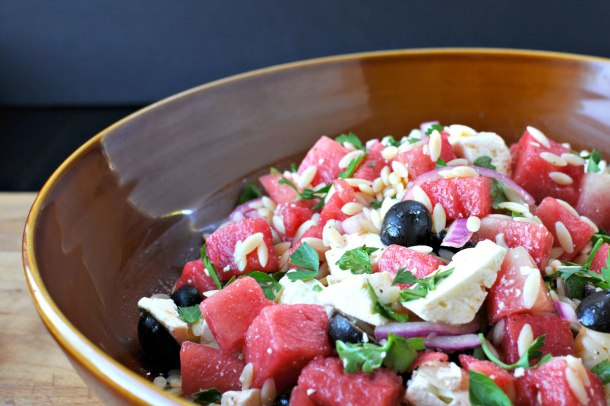 Watermelon, Orzo and Feta Salad | the pig & quill