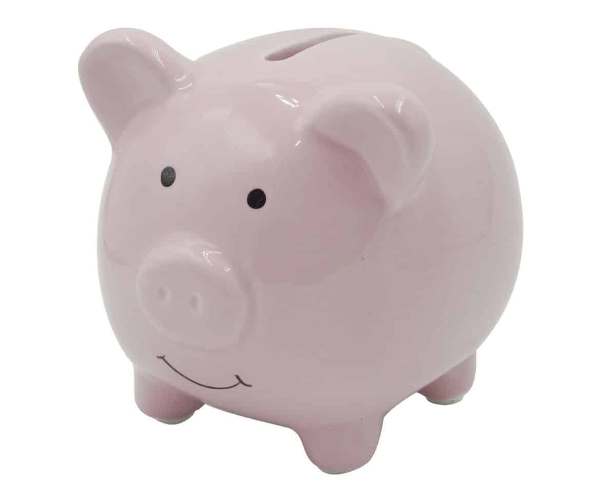 Small Cute Ceramic Piggy Coin Bank For Kids Pink
