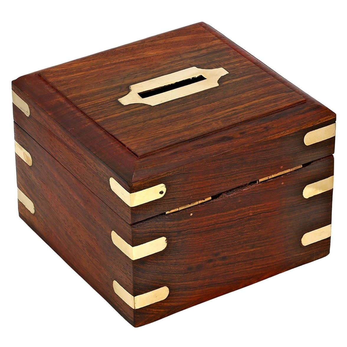 Buy Safe Money Box Wooden Piggy Bank For Boys Girls And