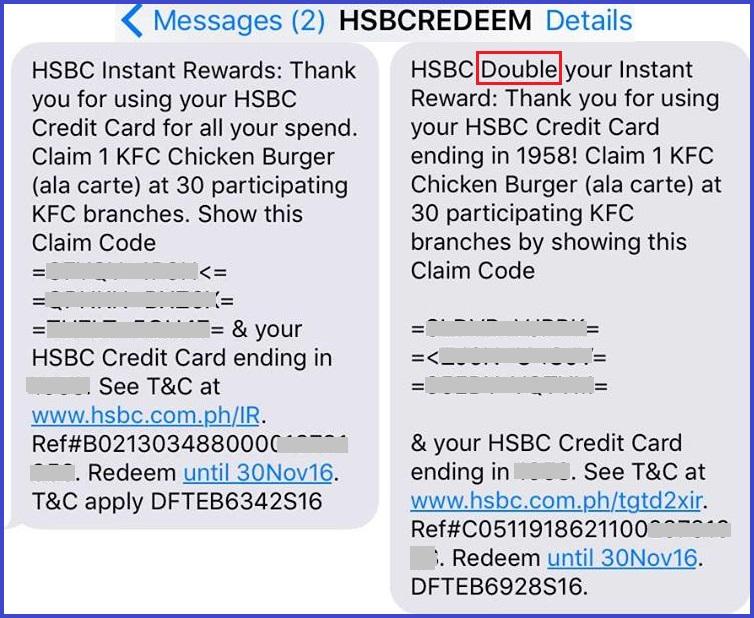 HSBC Credit Card Promo: Free KFC Meals or SM Cinema Movie