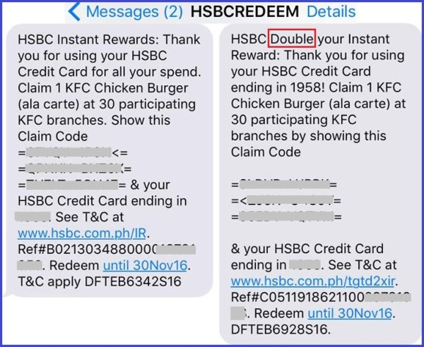 HSBC Credit Card Promo: Free KFC Meals or SM Cinema Movie