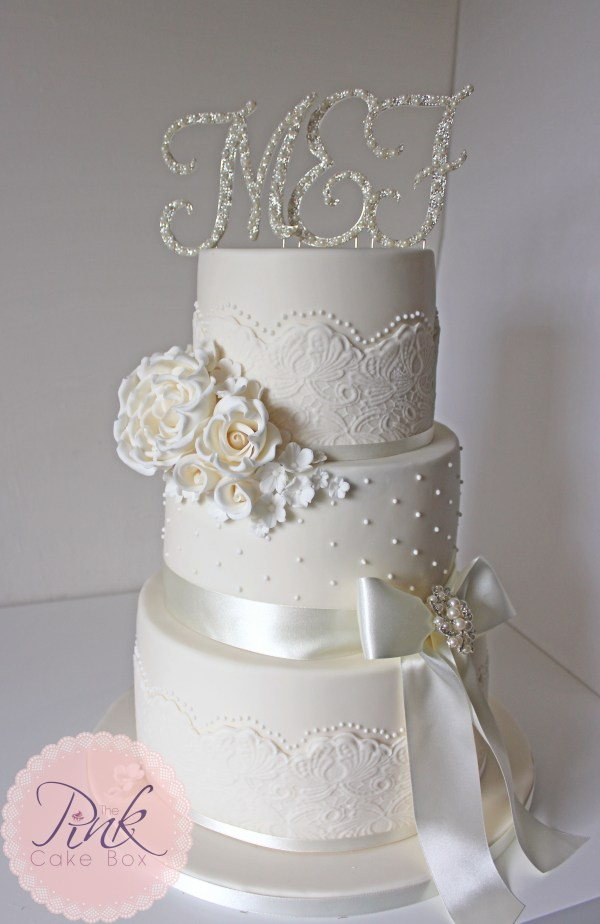 Elegant Lace And Pearl Wedding Cake Cakes