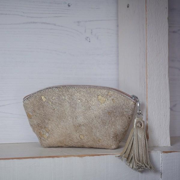 BoHo Leather Bag Gold Fleck